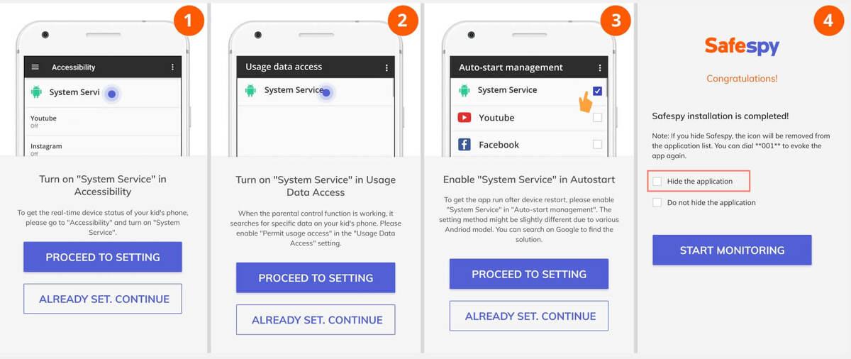 Safespy android tracking app setup 02